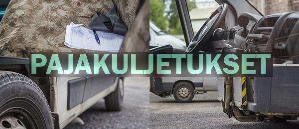 Kuvassa on Palakuljetukset auton ratti, penkki ja renkaat.