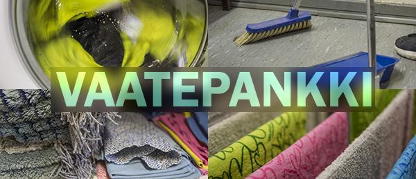 Kuvassa on Vaatepankin mattoja, pesukone, harja ja kihveli.