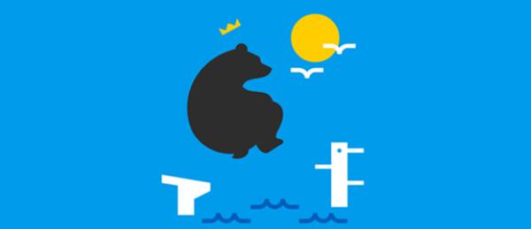 Kuva on koriste, jossa näkyy Porin mustakarhu hyppäämässä veteen.