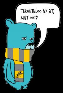 Kuvassa on Nuokkakarhu-maskotti, joka on kaulassaan kaulahuivi.
