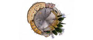 Kuvassa on Porin Lyseon koulun rakennuksista ja pihasta otettu 360-astetta-kuva.