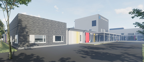 Kuvassa on Itätullenkoulun rakennus 3D-havainnekuvana.