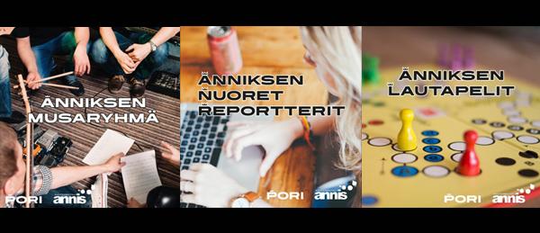 Kuvassa on bändi, henkilö tietokoneen ääressä ja lautapeli.