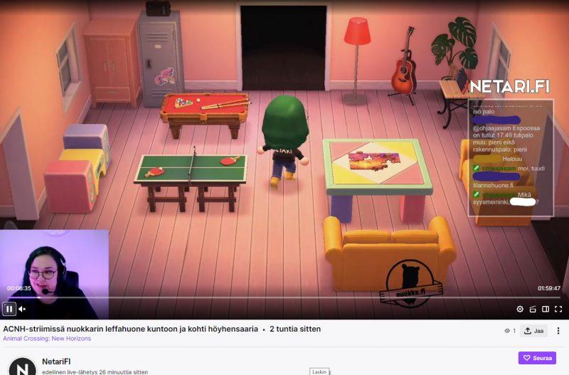 Kuvassa on pelilähetys Animal Crossing-striimistä.