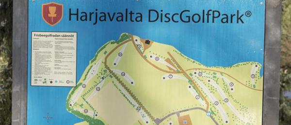 Kuvassa on DiscGolfParkin kartta.
