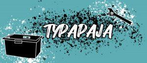 Kuvassa on ruuvimeisseli, laatikko ja teksti: Typapaja.