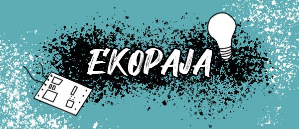 Kuvassa on piirilevy, lamppu ja teksti: Ekopaja.