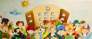 Kuvassa on maalaus, jossa on koulurakennus ja sen edessä paljon lapsia.