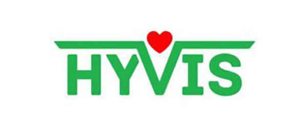 Kuvassa on Hyviksen logo, jossa on nimi vihreällä ja keskellä sydän.