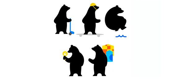 Kuvassa on viisi piirrettyä mustaa karhua urheilemassa.